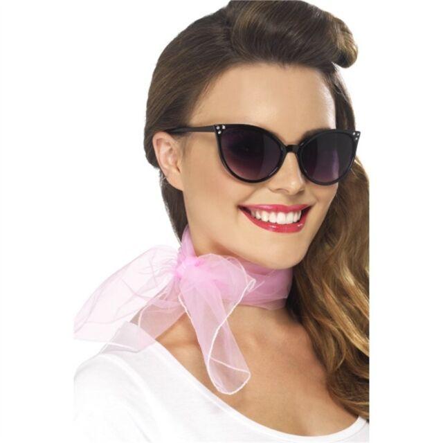 Foulard Des Années 50 - Neck Scarf Pink 50s Chiffon Fancy Dress Smiffys Ladies