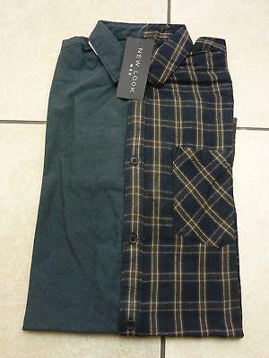 New Look Mens Long Sleeve Half Check//Plain Casual Shirt Size 2XL BNWT Green