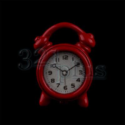 Doll 1:12 Scale Miniatures Dollhouse Alarm Clocks Clock Red Decor Bedroom Supply
