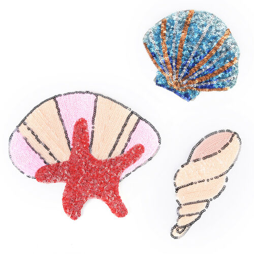 Starfish shells Sequins Sew On Patch for Clothes Bags DIY Iron On AppliquePRUK