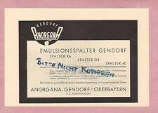 GENDORF, Werbung 1952, Anorgana-Gendorf Emulsionsspalter Spalter RA DB 40