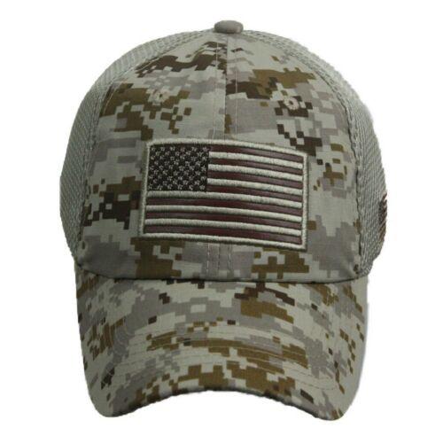 US Flag Baseball Cap Military Camo Army Tactical Mesh Trucker Summer Sun Visor
