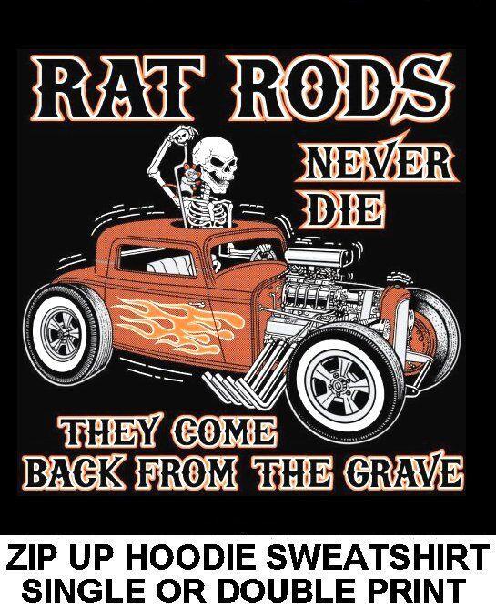 OLD SCHOOL OUTLAW MUSCLE RAT HOT ROD RACE BLOWER CAR SKULL ZIP HOODIE SWEATSHIRT
