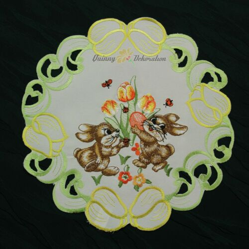 Easter Table runner Doily Tablecloth Cushion cover White Green Yellow Flower NEW