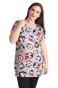 c26f217c835 Details about New Ladies Top Womens T-Shirt Thick Christmas Penguin Print Plus  Size Nouvelle