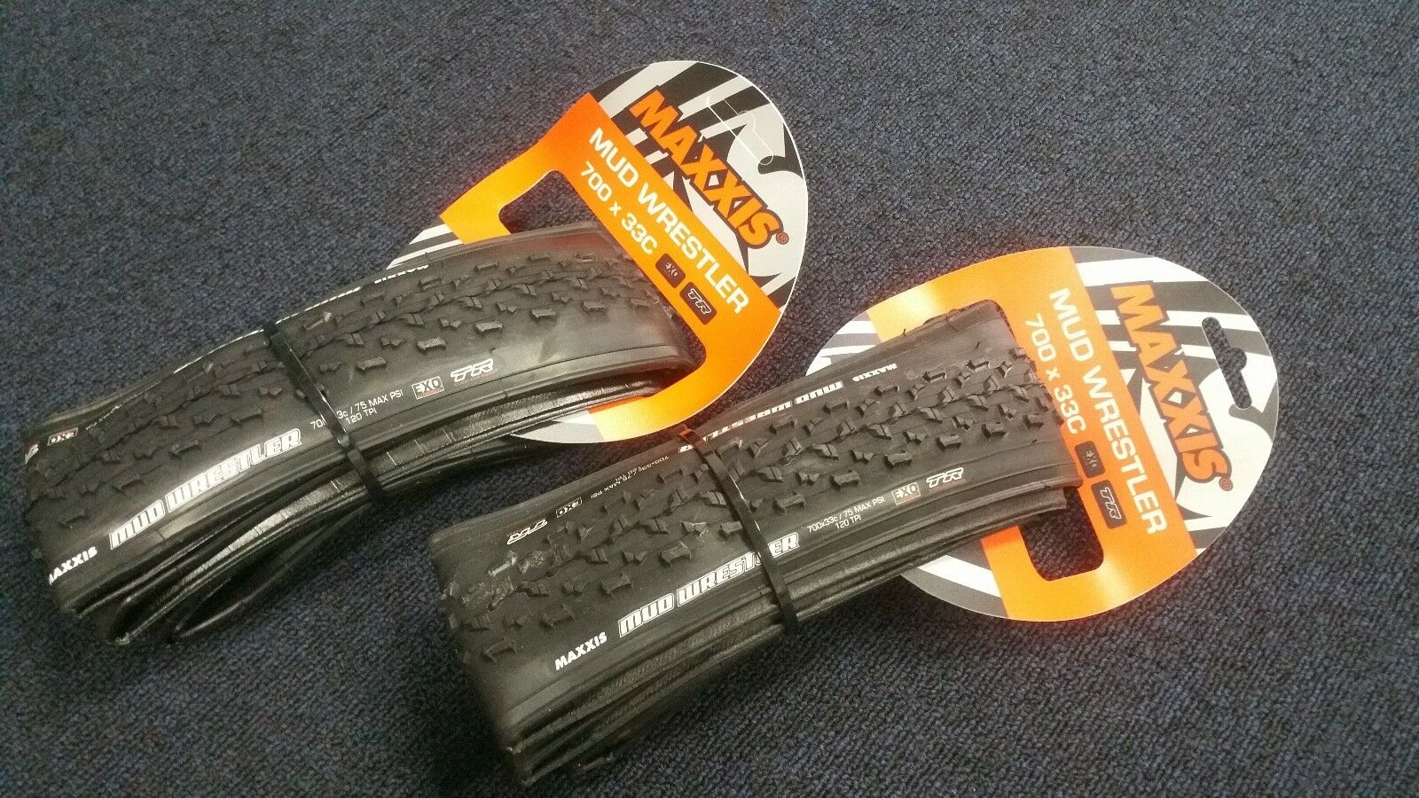 2 x Maxxis Mud Wrestler 700 x 33 Cyclocross tyres with EXO side wall
