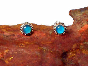 CHALCEDONY-Sterling-Silver-925-Earrings-STUDS-5-mm-Gift-Boxed