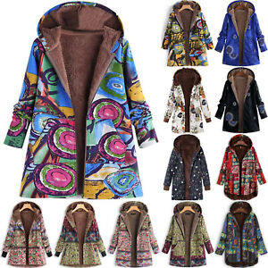 Details about Womens Retro Floral Hooded Fleece Coat Winter Long Jacket Parka Overcoat S 5XL