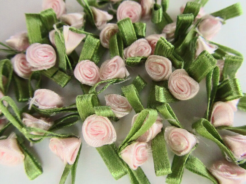 100 Satin Ribbon Rose Flower Leaf 10mm Applique//trim//craft//Hot Pink F78-Fuchsia