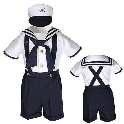 Infant Toddler Boy Satin Navy Sailor Wedding Party Outfit Suit Tuxedo Sz: 0-48M