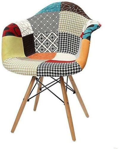 Patchwork Eiffel Dining Chair Armchair Lounge Fabric Retro Chairs