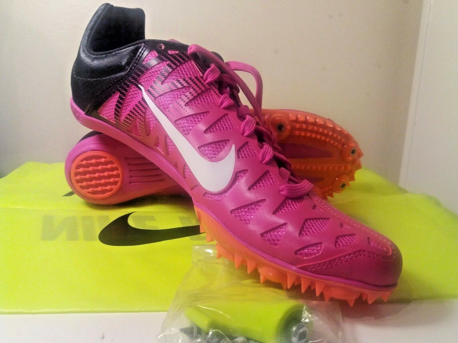 Nike Zoom Maxcat 4 Spikes Running Shoes Mens Size 9 Fire Pink  549150-601