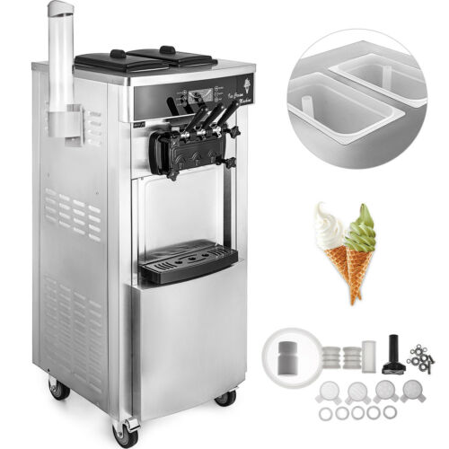 Commercial Mix Flavor Soft / Hard Ice Cream Machine Maker Ice Cream Cone 110V  yBxe1