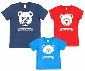 53a97954e44 3 PACK DADDY MUMMY   BABY BEAR T-SHIRTS Christmas Birthday Fathers ...