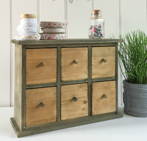 Details About Rustic Wooden Trinket Small Storage Unit Desk Drawers Organiser Shabby Chic Box