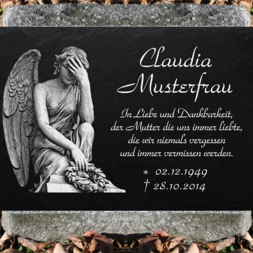 Grabstein Grabplatte Grabmal Grabschmuck 35x25 cm Wunsch Gravur Engel Auswahl