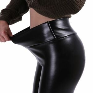 e951c4c43f0ec Image is loading Winter-Leather-Leggings-Women-High-Waist-Warm-Black-
