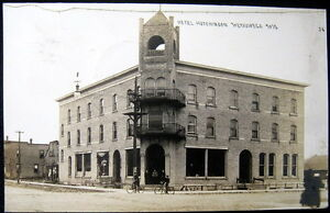Details about WEYAUWEGA WI~1914 HOTEL HUTCHINSON ~ Barber Shop ~ Bicycles~  REal Photo PC RPPC