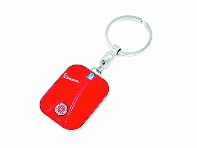 Schlüsselanhänger VESPA Beinschild - Front  in rot - NEU in Blechdose