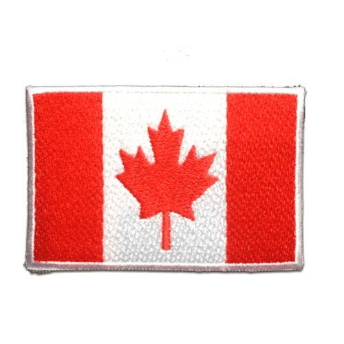 Canadá bandera 7.4x4.9cm termoadhesivos bordados aplique pa rojo Parches
