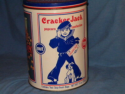 """Vintage Collectible 1990 Cracker Jack Round Tin Limited Edition 8"""" High"""
