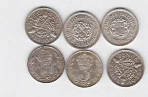1917/1919/1935/1936/1937 & 1938 SILVER THREEPENCE COINS IN NEAR EXTREMELY FINE