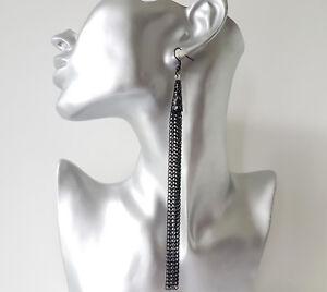 Stunning-15cm-LONG-black-metal-amp-filigree-waterfall-chain-tassel-drop-earrings