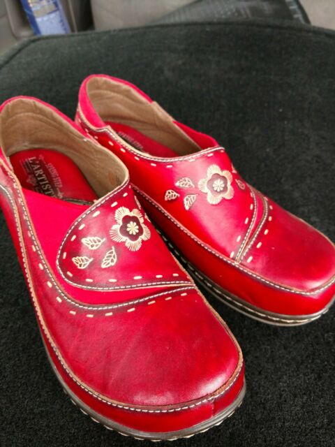 Spring Step L'Artiste Women Size 38 Burbank Shoes Clogs Red Embroidered Leather