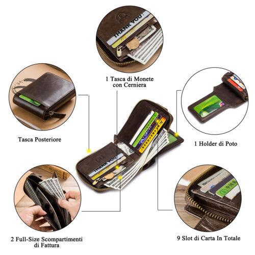 Mens Womens Genuine Leather Wallet RFID Blocking Zipper Bifold Credit Card Purse