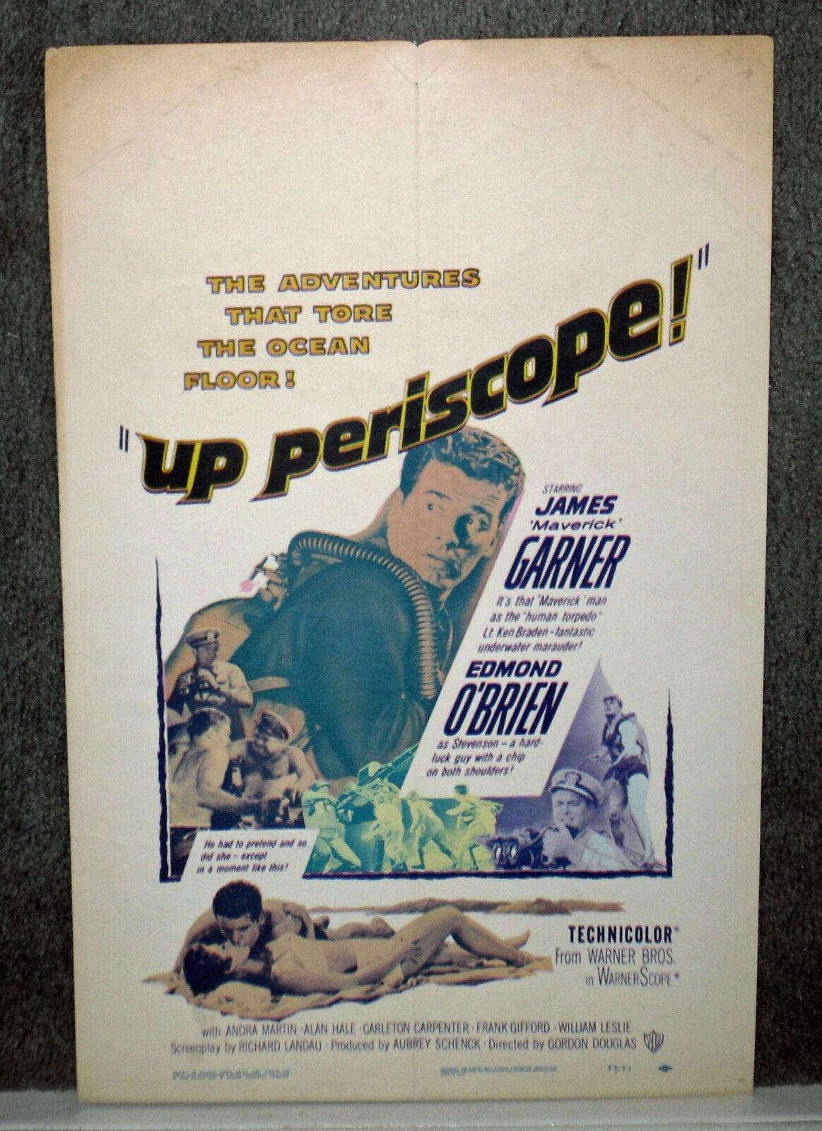 UP PERISCOPE SCUBA DIVING Original 1959 WW2 Movie poster JAMES GARNER