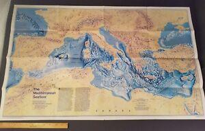Details About Vintage 1982 Historic Mediterranean Seafloor Map National Geographic