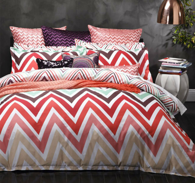 Logan & Mason CARNIVAL MULTI Chevron Double Bed Doona Duvet Quilt Cover Set NEW