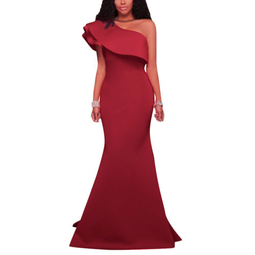 Women One Shoulder Ruffle Evening Party Cocktail Bodycon Mermaid Long Maxi Dress