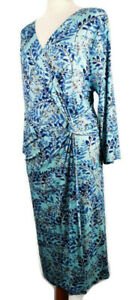 Joe-Browns-Size-16-Blue-Floral-Leaf-Print-Wrap-Style-Ruched-Dress-Long-Sleeve