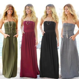6f3d51ac69 Women s Strapless Maxi Dress Ruched Pockets Tube Top Long Skirt ...