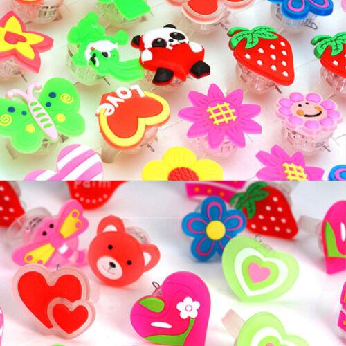 10 x Flashing LED Luminous Finger Ring Light Party Decor Children Xmas Gifts