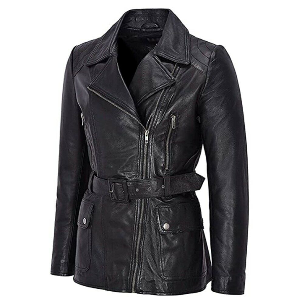 New Ladies Sheep Leather Jacket Black Trench Mid Length Fashion Winter For Coat