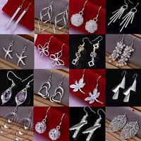 Women's Fashion Jewelry 925 Silver Sterling vintage Dangle Earrings Elegant Stud