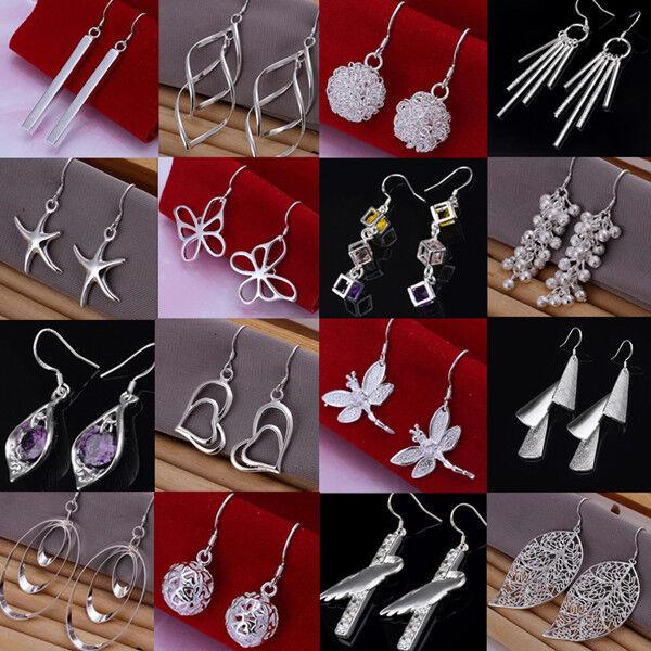Wholesale! Fashion 925 Silver Sterling Dangle Earrings Ear Studs Women's Jewelry