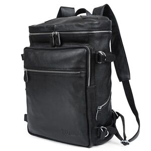 Men-s-Leather-Backpack-Shoulders-Bag-Tote-15-034-Laptop-Hiking-Bag-Rucksack-Gift