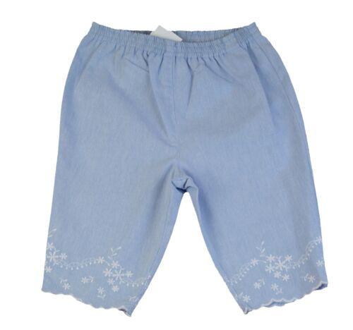 JACADI Girls Tracheal Chambray Elastic Waist Cotton Pants Size 12 Months NWT $34