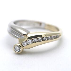 Details zu 0,315 Ct Diamant Ring 585 Gold Brillant 14 Kt Bicolor Weiß Gelbgold aWert 960,