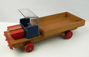 Details About Vintage Large Wooden Homemade Primitive Toy Pick Up Truck Flat Bed Wood 17