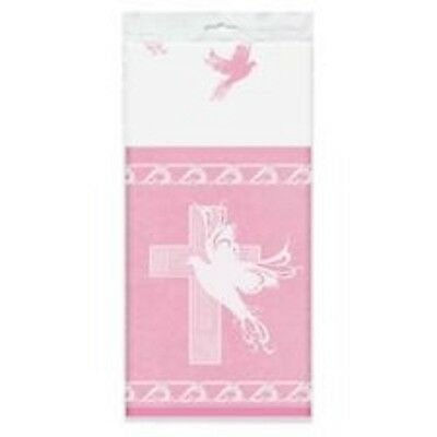 Pink Dove Cross 54 x 84 Tablecover Baptism Christening Communion