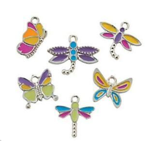 4 Pink and White Dragonfly Gold Tone Enamel Charms E518