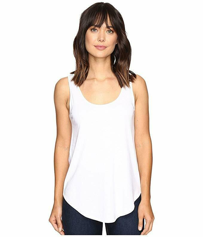 Lilla P Women's Pima Modal Shirttail Scoop White Shirt