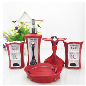 exciting red bathroom accessories sets | 5pcs Bathroom Accessories Set Soap Dish Dispenser ...