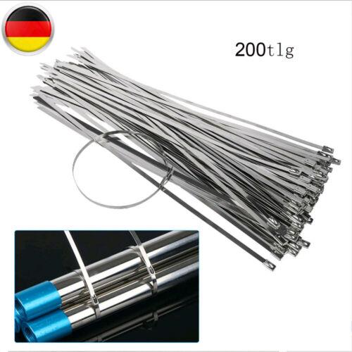 200tlg Edelstahl Kabelbinder Schwarz 300x4,6 mm Kabelband Kabelstraps Kabelrapp