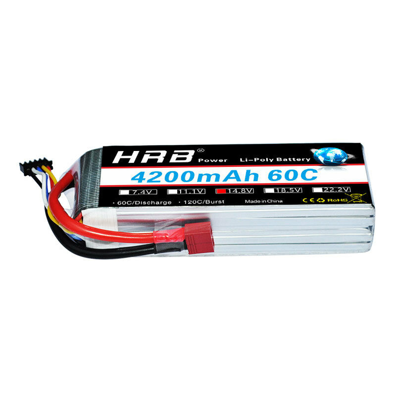 HRB 14.8V 4200mAh 4S LiPo Battery 60C 120C for RC Helicopter Car Drone Boat 1/10