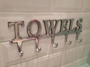 Large Towel Holder Rack Bath Hanger Hooks Wall Mounted
